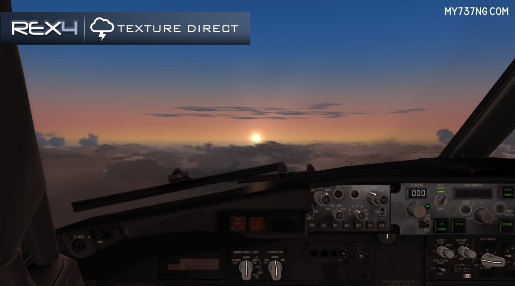 Sunset from my PMDG 737-800 with REX4 | Texture Direct sun, sky, and cloud textures.