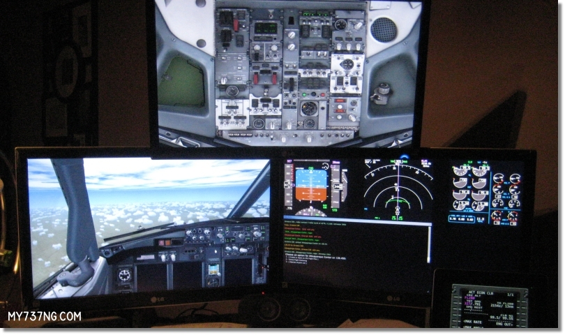 Triple monitor setup using the PMDG 737NGX and Virtual Avionics's Virtual CDU on the iPad.