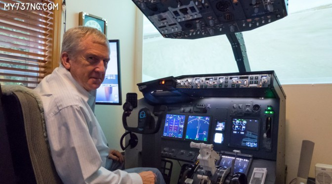 Gordon at the controls of his 737 sim.